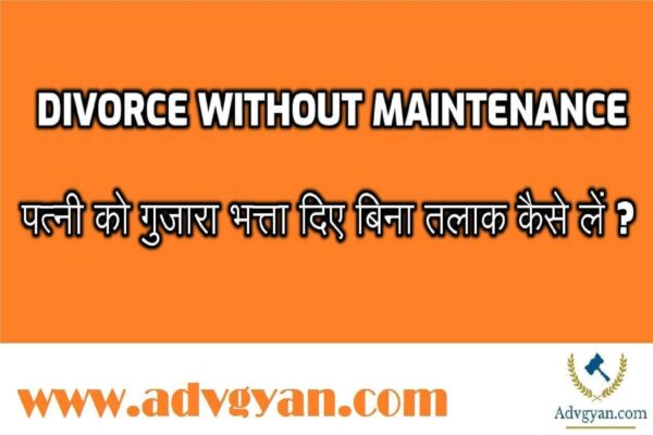 Divorce Without Maintenance or Alimony in hindi